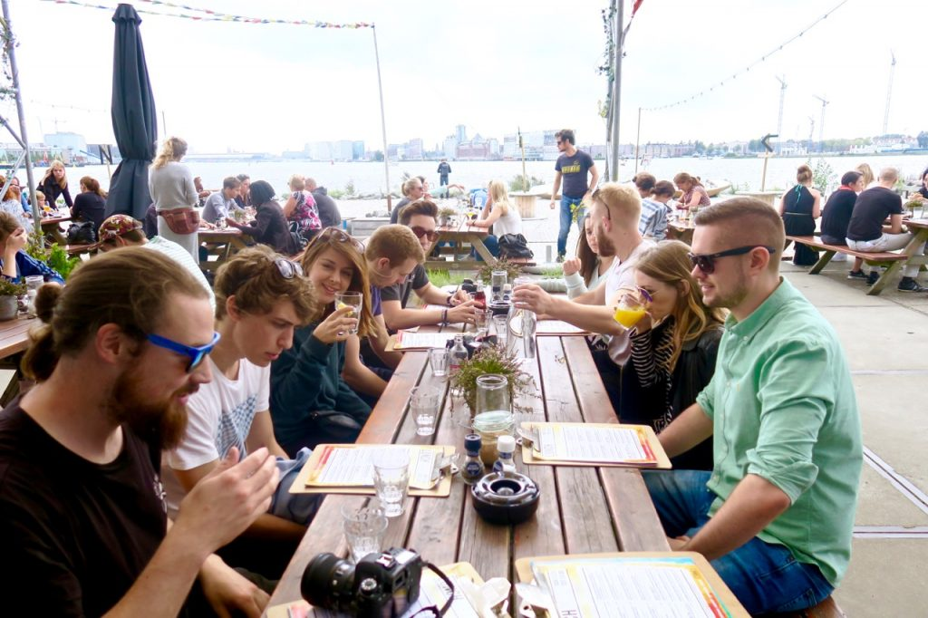 Pllek Beach Cafe, Amsterdam Noord table