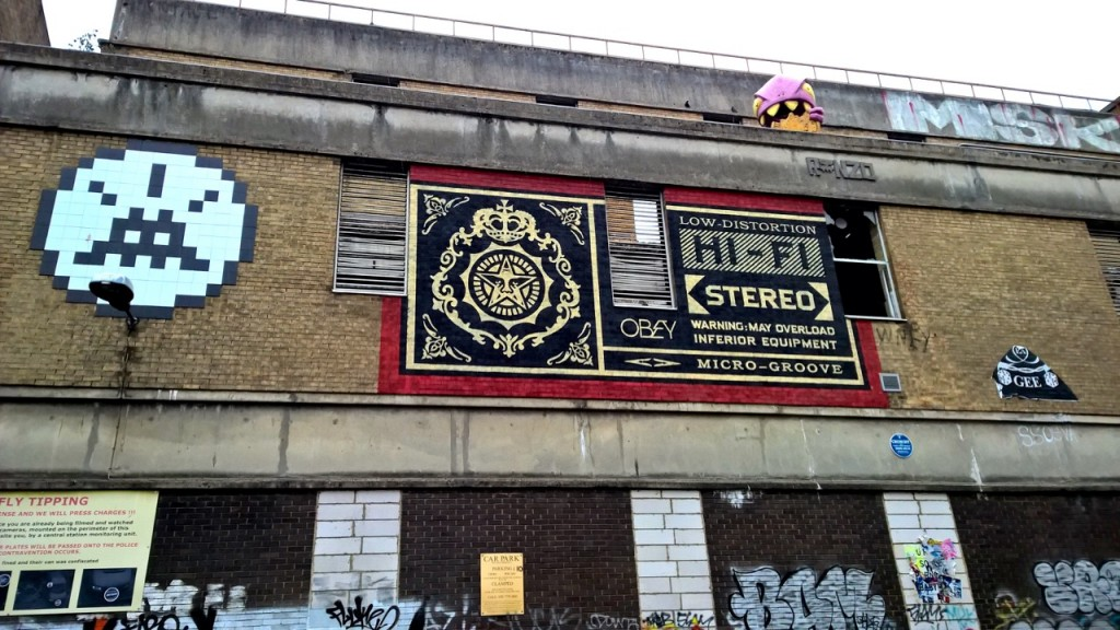 "Shepherd Fairey - ""Stereo Sound"" and Space Invader - Black and white tiles"