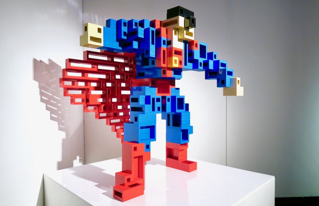 cubist superman art of lego brick