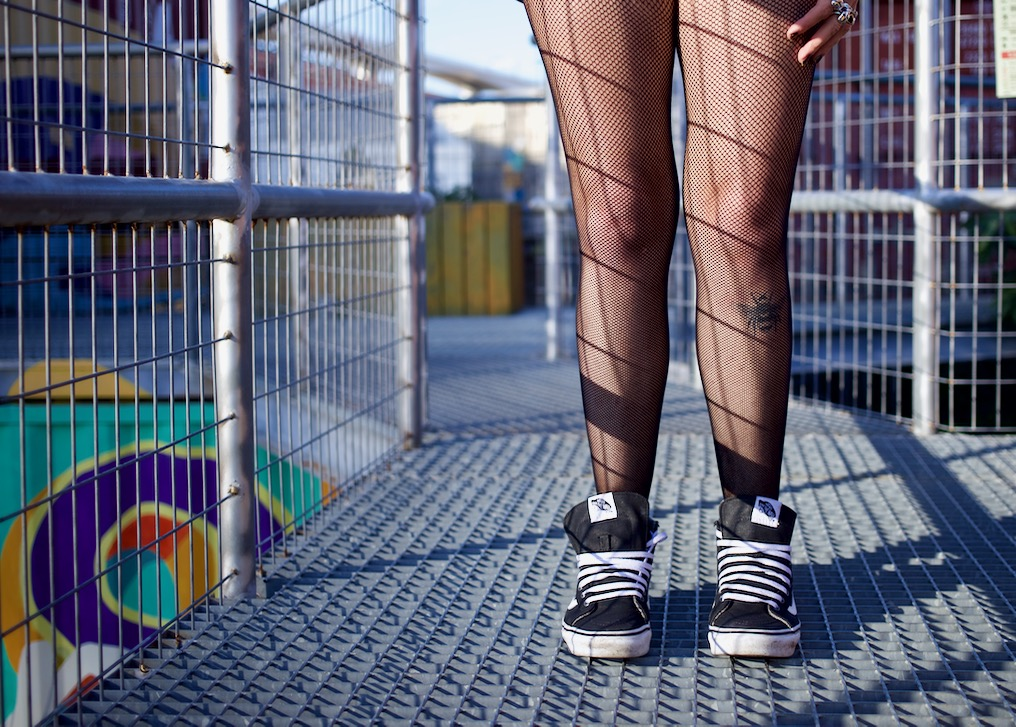 Fishnet and Vans Emma Inks Style