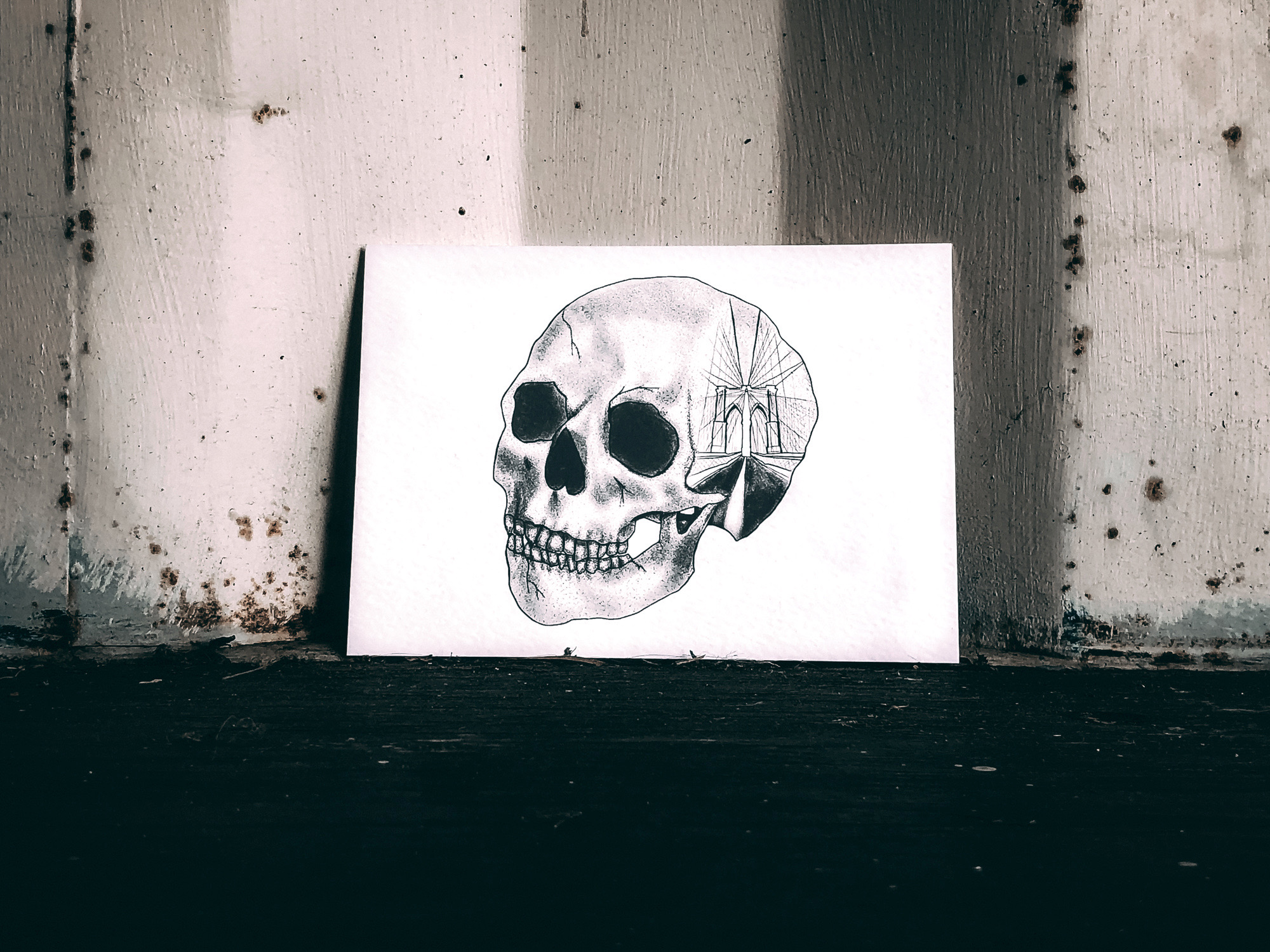 Emma Inks Studio Skull Art Brooklyn Bridge