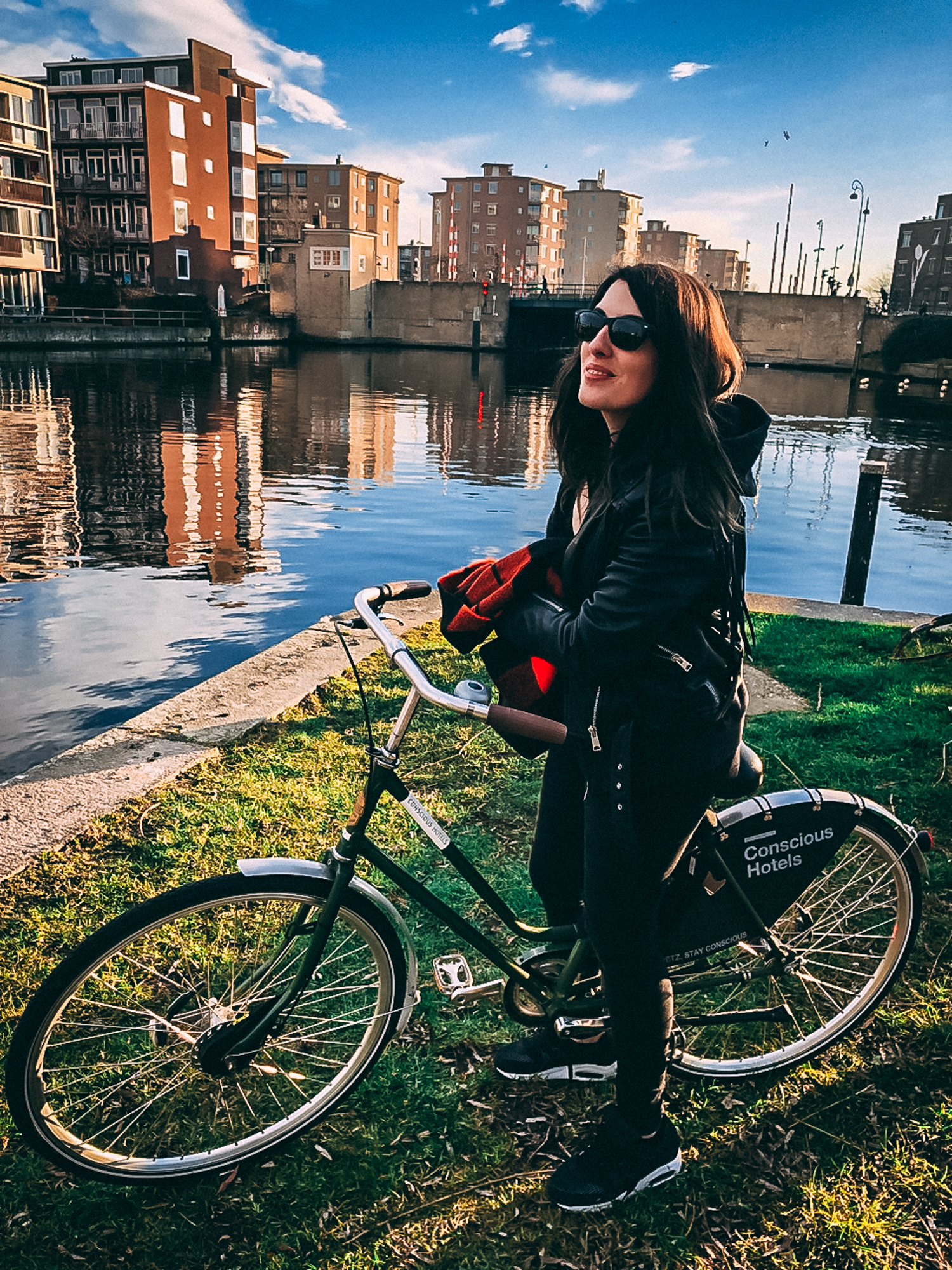 Emma Inks cycling in Amsterdam