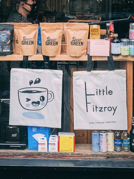 Close up of Edinburgh Coffee Shop Little Fitzroy with tote bag and bags of coffee - Emma Inks Blog Favourite Coffee Shops in Edinburgh