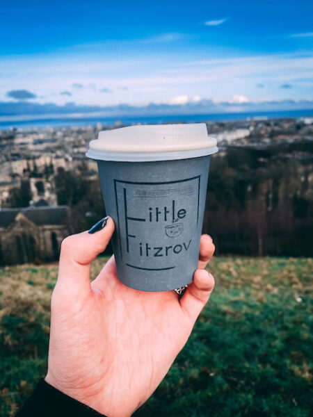 Hand Holding Edinburgh Coffee Shop Little Fitzroy Coffee Cup at Carlton Hill