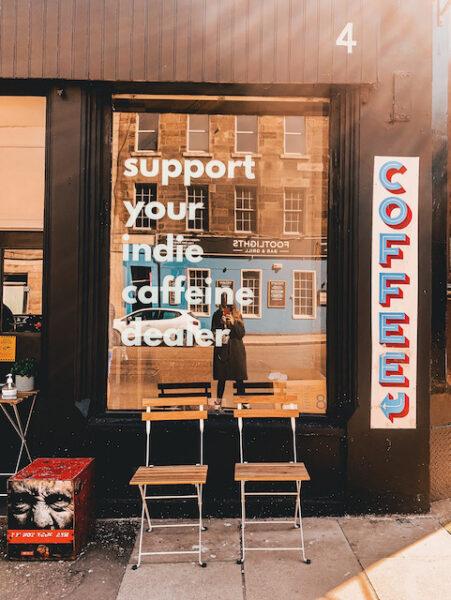 Brew'd Coffee Shop Window in Edinburgh - Emma Inks Blog Coffee Guide