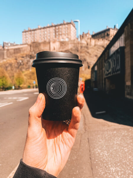 A cup of takeaway coffee from source coffee edinburgh
